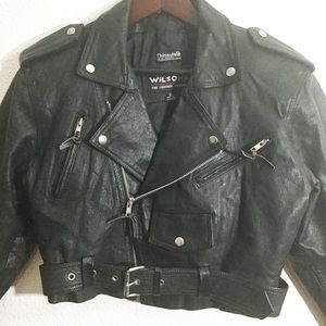 Vintage Wilson's Leather Black Moto Jacket